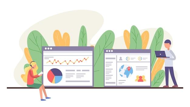 Supporto tecnico del sito web. donna con auricolare tenendo la carta nelle mani. amministratore dell'uomo con il laptop. persone che analizzano le informazioni nei siti
