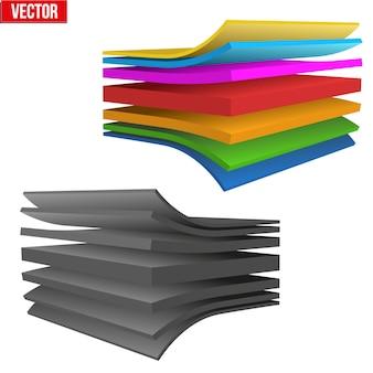 Illustrazione tecnica di un tessuto multistrato. dimostrazione della struttura del materiale. illustrazione su sfondo bianco