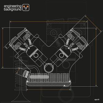 Illustrazioni tecniche. ingegneria meccanica il disegno. per il disegno tecnico. nero