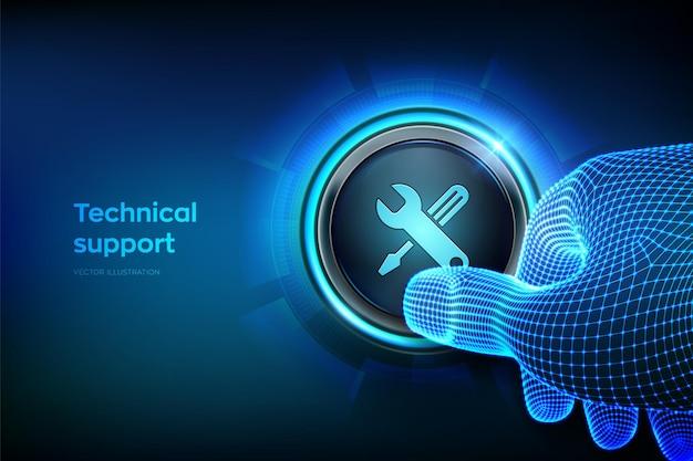 Pulsante di supporto tecnico primo piano del dito che sta per premere un pulsante assistenza clienti assistenza tecnica servizio clienti concetto aziendale e tecnologico