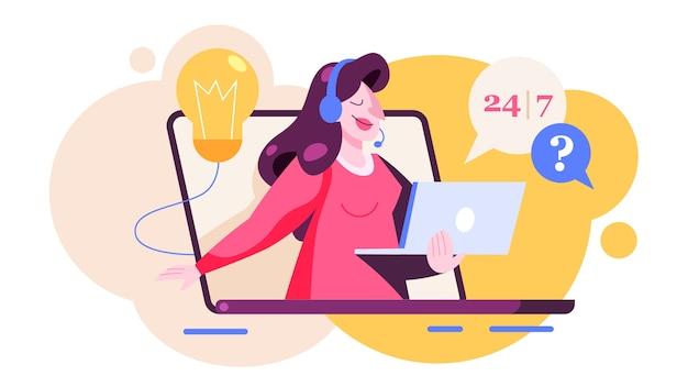 Concetto di supporto tecnico. idea del servizio clienti. supportare i clienti e aiutarli con i problemi. fornire ai clienti informazioni preziose. illustrazione in stile