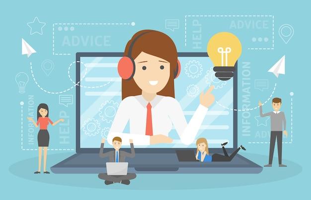 Concetto di supporto tecnico. idea del servizio clienti. la donna sostiene i clienti e li aiuta con i problemi. fornire ai clienti informazioni preziose. illustrazione