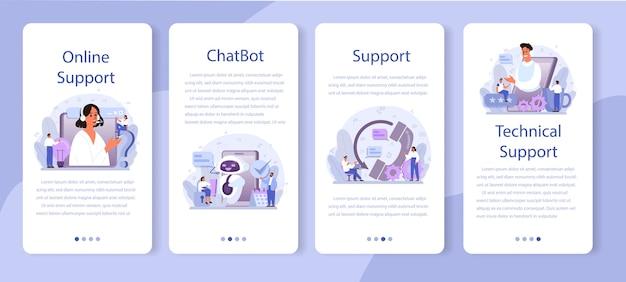 Set di banner per applicazioni mobili di supporto tecnico
