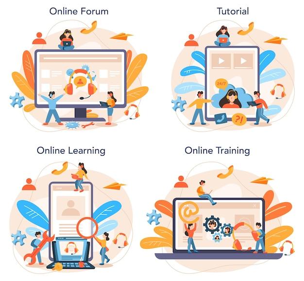 Servizio online di supporto tecnico o set di piattaforme. idea del servizio clienti. fornire ai clienti informazioni preziose. forum online, tutorial, apprendimento, formazione.