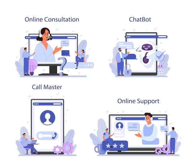 Servizio online di supporto tecnico o set di piattaforme