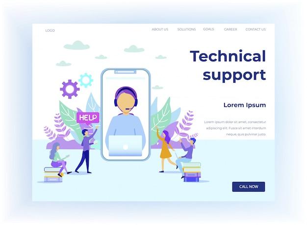 Supporto tecnico per la pagina di destinazione dei cartoni animati per studenti