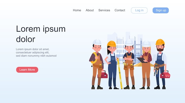Gruppo di persone di tecnici, operaio di ingegneria e costruzione. lavoratori di ingegneri industriali, caratteri di costruttori isolati fumetto illustrazione vettoriale