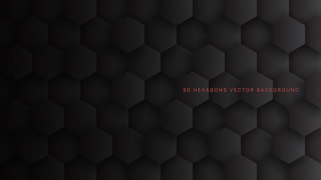 Blocchi esagonali tecnologici 3d neri minimalisti