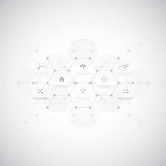 Sfondo tecnologico infografica con icone piane e simboli