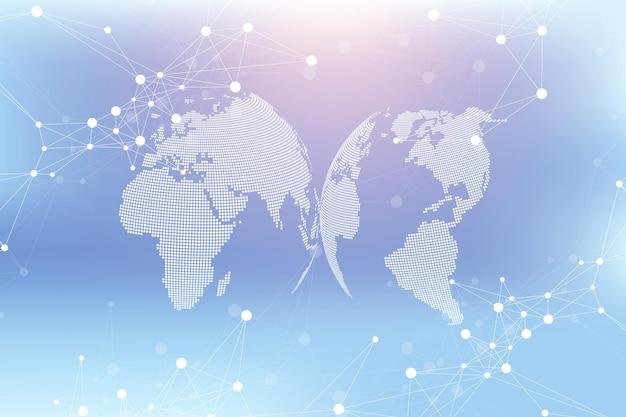 Fondo astratto di tecnologia con linea collegata e punti. visualizzazione di grandi dati. intelligenza artificiale e sfondo del concetto di apprendimento automatico. reti analitiche. illustrazione vettoriale.