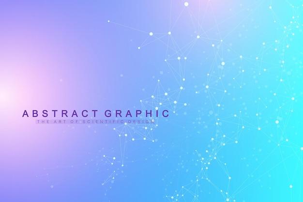 Fondo astratto di tecnologia con linea collegata e punti. visualizzazione di grandi dati. visualizzazione sullo sfondo in prospettiva. reti analitiche. illustrazione vettoriale.