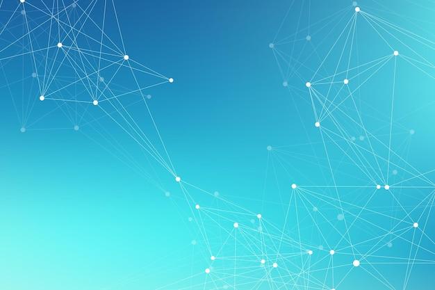 Fondo astratto di tecnologia con linea collegata e punti