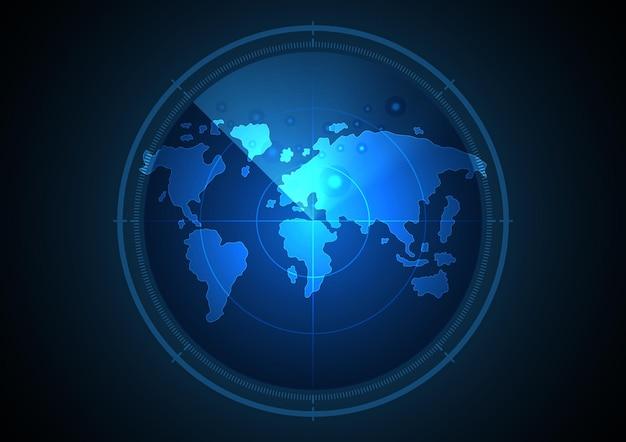 Fondo astratto del radar del mondo moderno del futuro digitale di tecnologia