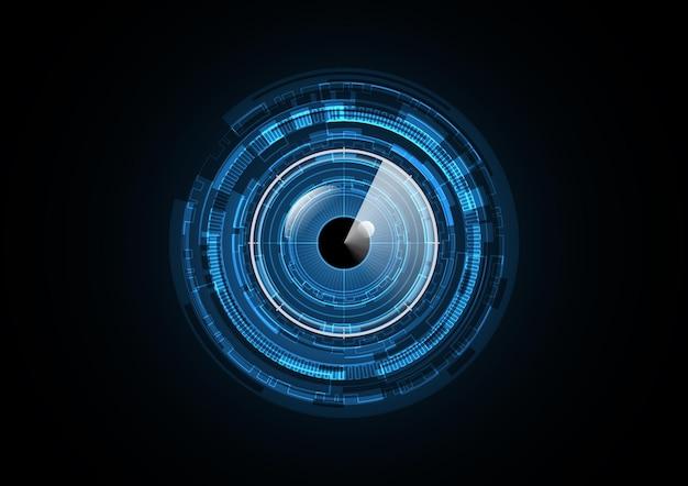 Illustrazione di vettore del fondo del cerchio di sicurezza del radar dell'occhio futuro astratto di tecnologia