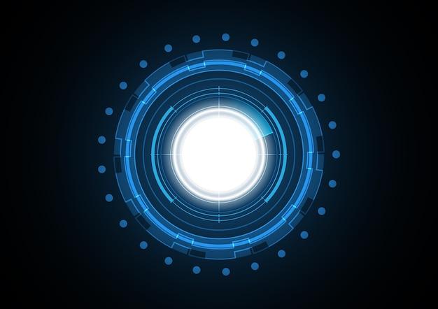 Fondo futuro astratto del radar del cerchio della luce di tecnologia