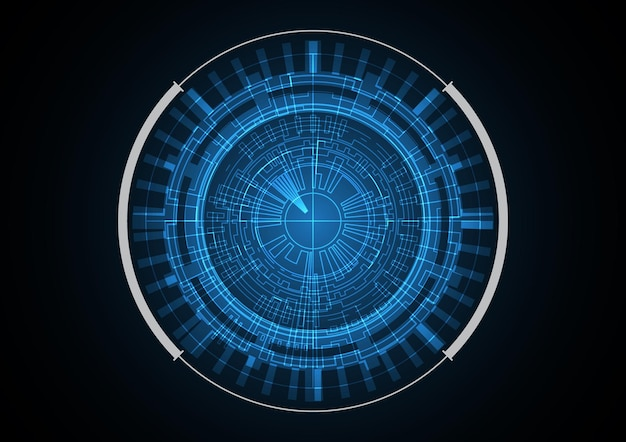 Illustrazione di vettore del fondo del cerchio del radar futuro astratto di tecnologia