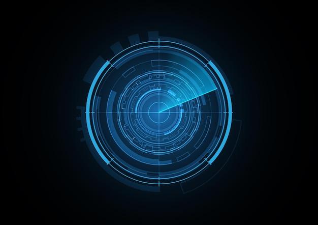 Illustrazione di vettore del fondo del cerchio di sicurezza del radar futuro astratto di tecnologia