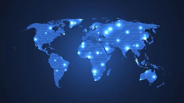 Struttura astratta del circuito dell'illustrazione della mappa di mondo di tecnologia
