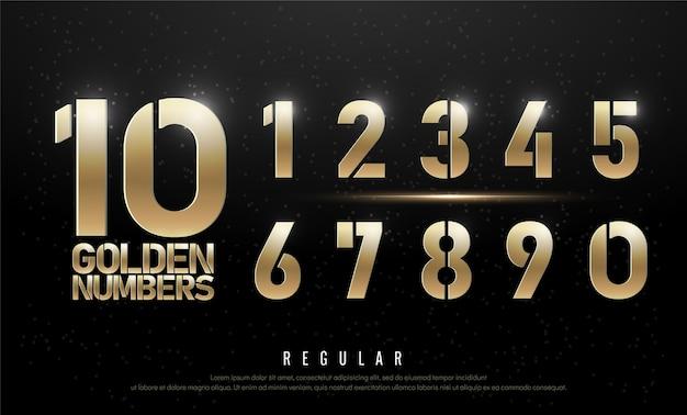 Tecnologia alfabeto numeri d'oro metallico ed effetto
