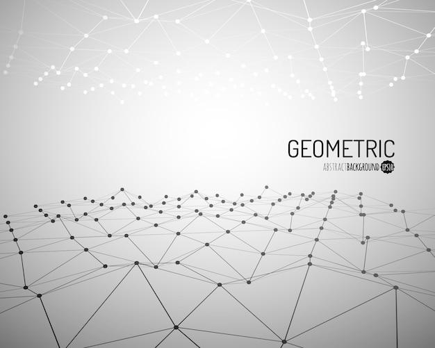 Tecnologia di fondo. wireframe paesaggio poligonale con linee e punti collegati. .