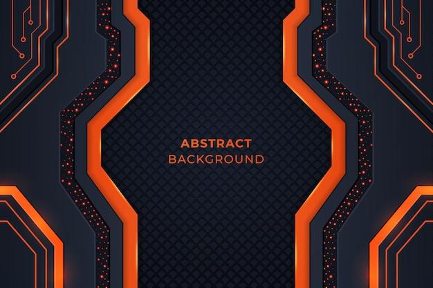 Sfondo tecnologico con forme geometriche di colore arancione e scuro, circuiti e luci.