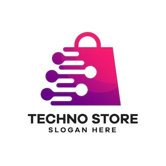 Design del logo sfumato della borsa tecnologica