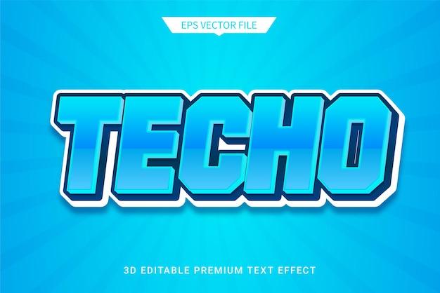 Tecnologia blu 3d effetto stile testo modificabile vettore premium