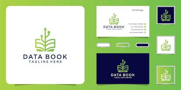 Logo del design del libro tecnologico e ispirazione per i biglietti da visita
