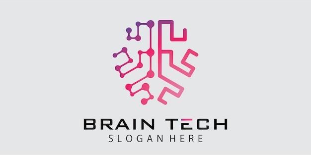Design del logo del cervello tecnologico