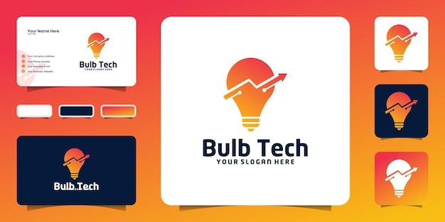 Ispirazione per il design del logo della lampadina tecnologica con frecce e ispirazione per biglietti da visita