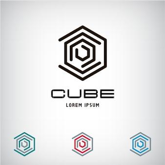 Logo del cubo astratto di affari di tecnologia