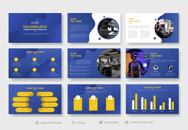 Set di modelli di presentazione powerpoint business tecnologico