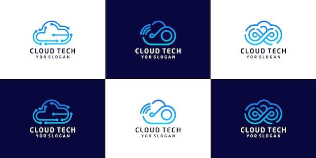 Set di loghi per il design del cloud tecnologico, archiviazione dei dati
