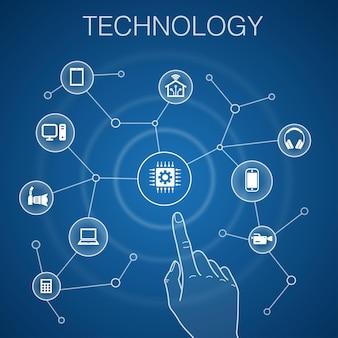 Concetto di tecnologia, casa intelligente sfondo blu, macchina fotografica, computer tablet, icone smartphone