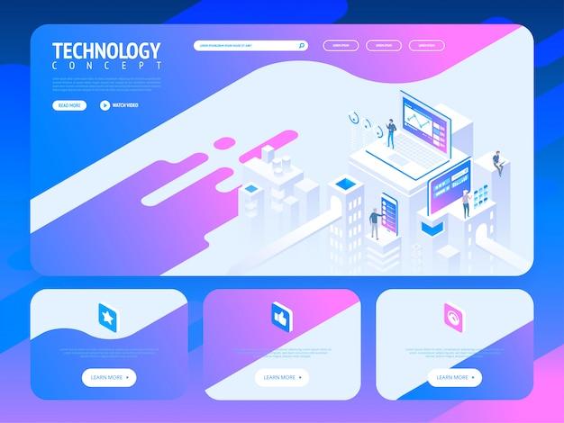 Progettazione del modello di sito web creativo tecnologia. illustrazione isometrica di vettore