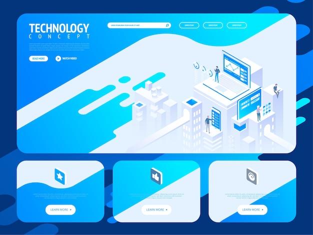 Modello di sito web creativo di tecnologia. concetto di illustrazione isometrica della pagina web per lo sviluppo di siti web e siti web mobili.