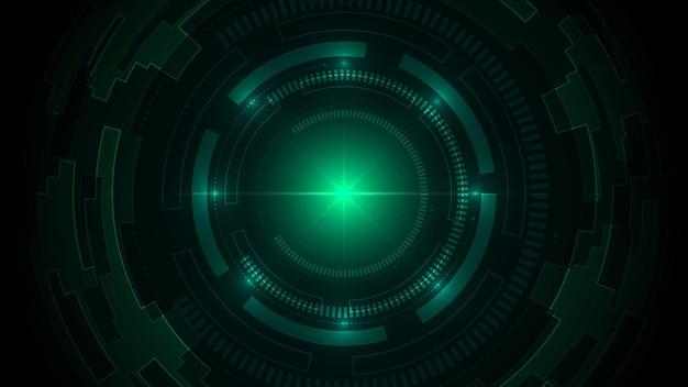 Sfondo verde scuro di tecnologia con connessione dati digitali hi-tech.