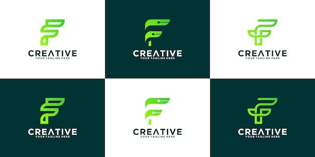 Raccolta di logo della lettera f di dati di tecnologia
