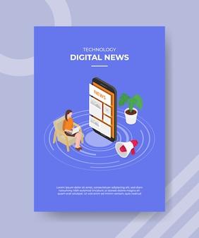 Le donne di notizie digitali di tecnologia che si siedono sulla sedia usano il laptop intorno alle notizie del grande smartphone sullo schermo