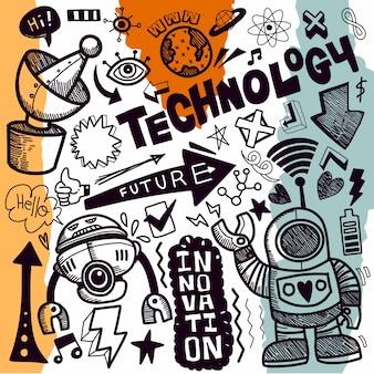 Collezione di disegni di doodle di tecnologia illustrazioni di doodle disegnati a mano in stile cartone animato.