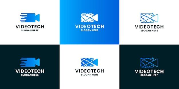 Tecnologia per il design del logo del film. l'icona del video della fotocamera si combina con il concetto di tecnologia