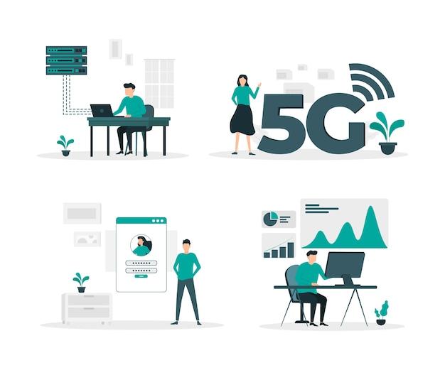 Set di illustrazione piatta tecnologia