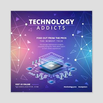 Tecnologia e futuro modello di volantino quadrato