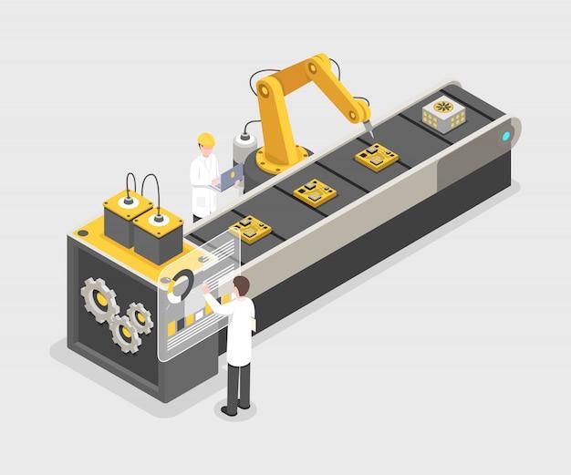 Linea di assemblaggio di gadget tecnologici, processo di produzione. ingegneri che lavorano su impianti industriali Vettore Premium
