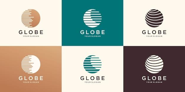 Modello di disegni di logo del globo di tecnologia, modello di logo di world tech