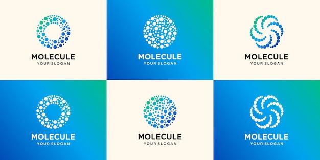 Logo del globo tecnologico con modello di progetti di concetto di molecola, modello di logo world tech