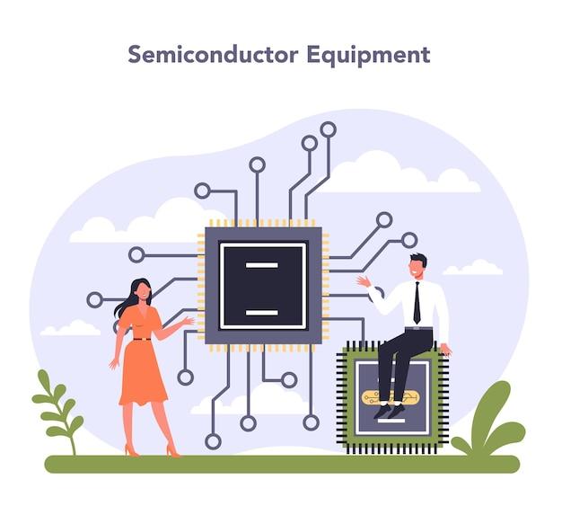 Industria dell'hardware e delle apparecchiature tecnologiche. componenti elettrici e semiconduttori. tecnologia di comunicazione moderna. illustrazione vettoriale piatta