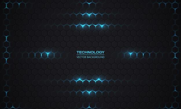 Sfondo scuro esagonale di tecnologia.