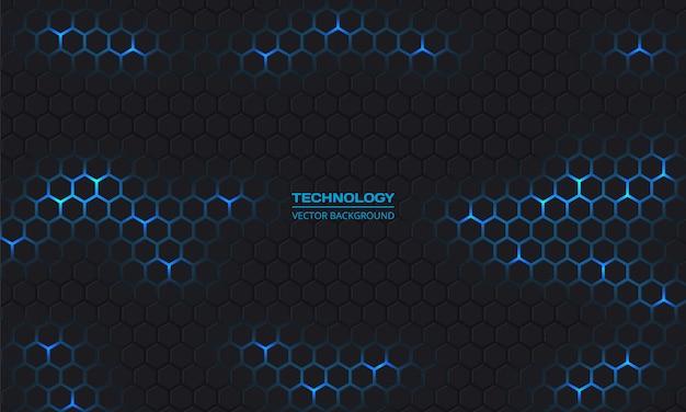 Tecnologia moderna sfondo scuro scuro esagonale. griglia a nido d'ape.