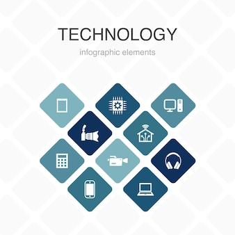 Tecnologia infografica 10 opzioni colore design.smart home, fotocamera, tablet computer, icone semplici per smartphone